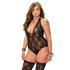 2 pc Floral Lace Deep-V Lace Up Teddy And Matching Stockings
