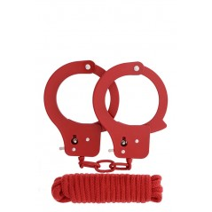Bondx Metal Cuffs & Love Rope Set Red