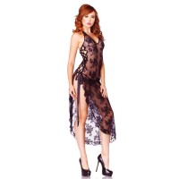 2PC. HALTER LACE LONG GOWN W/ RIBBON LACE UP SIDE SLIP AND G O/S BLK