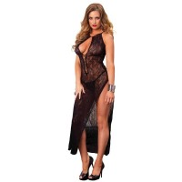 728536 SWIRL LACE LONG DRESS W/LACE UP FRONT W/G-STRING O/S BLK