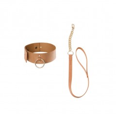 Maze Wide Choker With Leash Brown