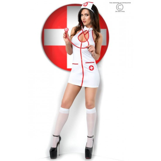 CR 3854  L/XL  White Sexy Nurse Costume Dress