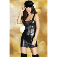 CR 3577  S  Black Leatherlook Minidress