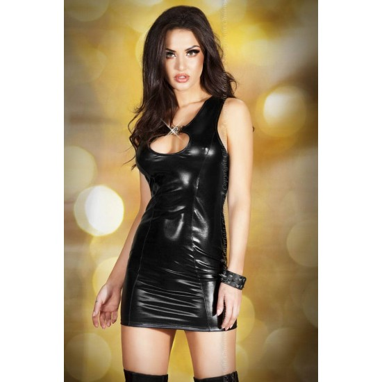 CR 3578  M  Black Leatherlook Minidress