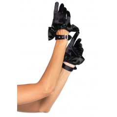 Cropped Satin Ruffle Gloves, black, O/S