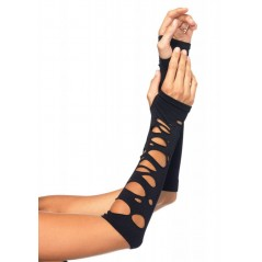 Distressed Armwarmers, black, O/S