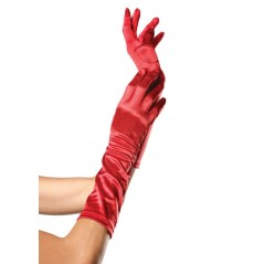 Elbow Length Satin Glove, red, O/S