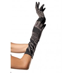 Elbow Length Satin Glove, black, O/S
