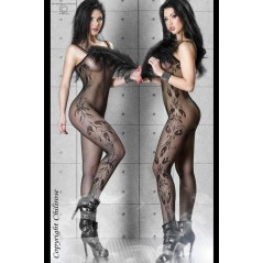 CR 3243 S/M Bodystocking Sideflowers