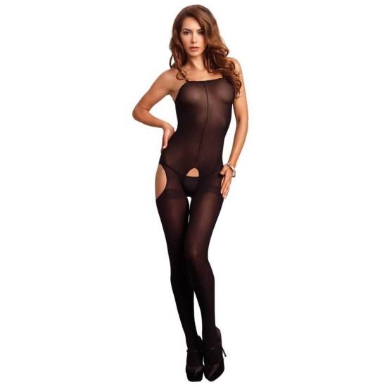 728195 Opaque Suspender Bodystocking O/S Black